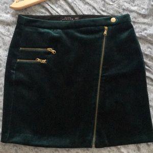 Bershka velvet mini skirt